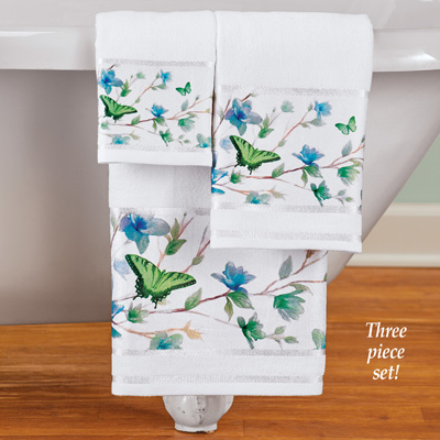 Blue Butterfly Blossoms Towels - Set of 3
