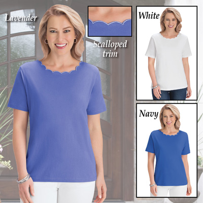 Scalloped Trim Scooped Neckline T-Shirt