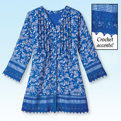 Blue Floral Crochet Trimmed Pintuck Tunic