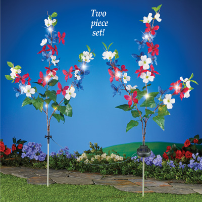 Solar Patriotic Floral Adjustable Yard Stakes