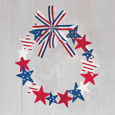 Metal Star Patriotic Wreath with Striped Bow