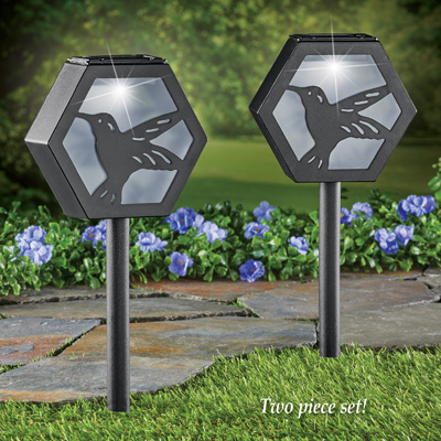 Hummingbird Solar Pathway Stakes - Set of 2