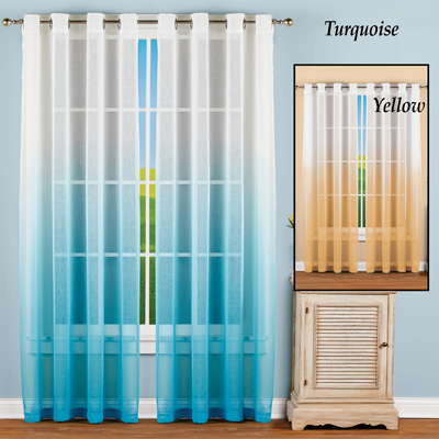 Sheer Ombre Window Curtain Panel