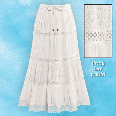 Crinkled Eyelet Lace Tiered Ivory Skirt