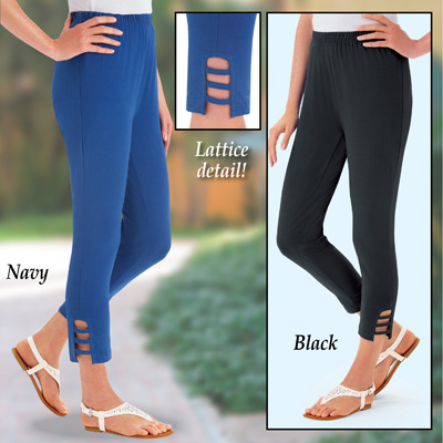 Lattice Detail Capri Leggings with Elastic Waist