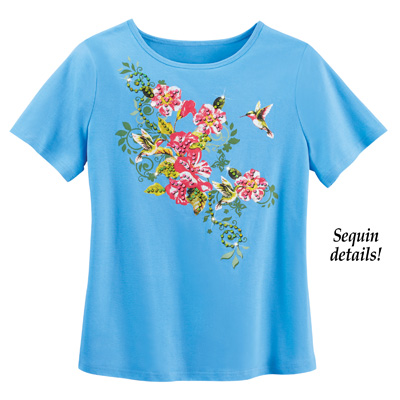 Blue Hummingbird Floral Short Sleeve Scoop Neck Top