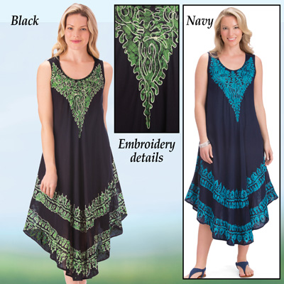 Embroidered Design Easy-Fit Tank Dress