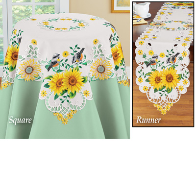 Lovely Yellow Sunflowers and Songbirds Table Linens