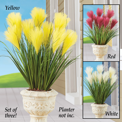 Faux Pampas Grass Picks - Set of 3
