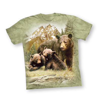 Black Bear Family Green Short Sleeve T Shirt