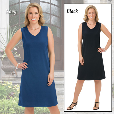 Classic Knit Sleeveless Dress with V-Neckline