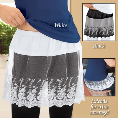 Lace Shirt Length Extender with Elastic Waistband