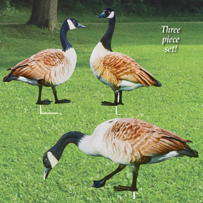 Realistic Geese Metal Yard Stakes - Set of 3