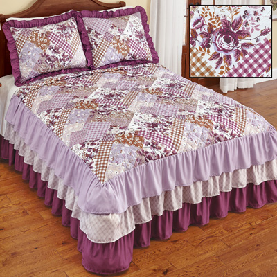 Evelyn Patchwork Style Quilted Ruffled Bedspread