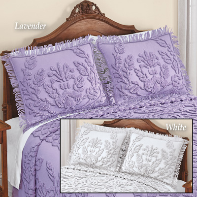Exquisite Chenille Pillow Sham with Fringe Border