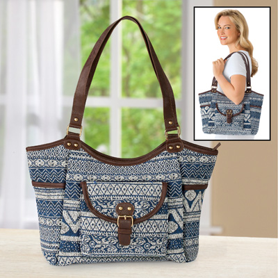 Aztec Printed Handbag with Large Pockets and Zipper