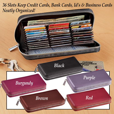 RFID-Blocking Leather Wallet with 36 Slots