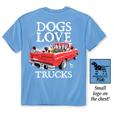 Dogs Love Trucks Sky Blue T-Shirt
