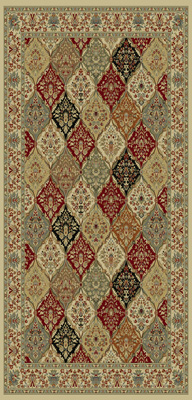 Multi-Colored Floral Diamond Area Rug