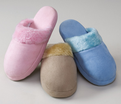 Womens Cozy Fur Trim Suede Slippers