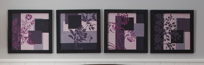 Floral Shades of Purple Framed Print Set
