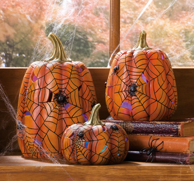 Lighted Color-Changing Halloween Spider Pumpkins