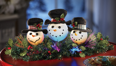 Snowman Trio Fiber Optic Holiday Lighted Floral Centerpiece