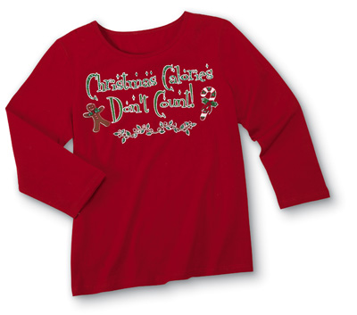 Christmas Calories Don't Count 3/4 Sleeve Sequin Top