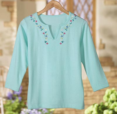 Emily Embroidered V- Neck Top