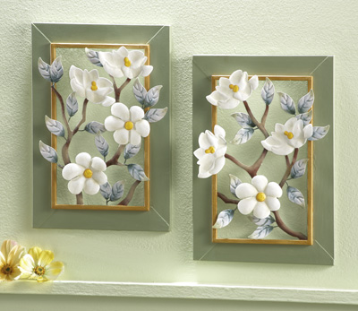 3D Magnolia Blossoms Metal Wall Art - Set of 2