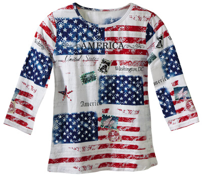 All American Patriotic Flag Scoop Neck Sequin Top