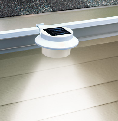 White Clip-on Gutter Solar Security Light