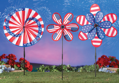 Patriotic Americana Wind Spinners - Set of 3