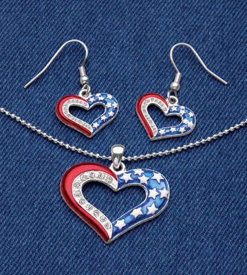 Patriotic at Heart Necklace and Earrings Jewelry Set