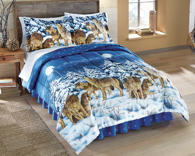 Midnight Wolves Bed Comforter Set with Bedskirt