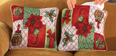 Christmas Poinsettia Pillow Covers- Set of 2