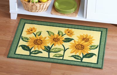 Sunflower Floral Woven Accent Rug