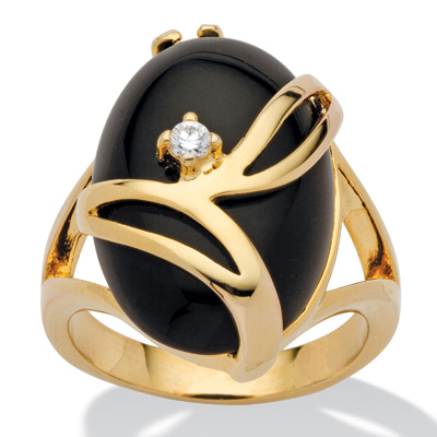 Oval Onyx w/ Crystal Accent 14k Gold-Plated Ring