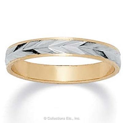 14k Gold-Plated Tutone Wedding Band Ring