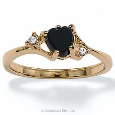 Onyx Heart w/ Crystal Accents 14k Gold-Plated Ring