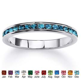 Birthstone Sterling Silver Eternity Band