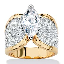 Marquise Cut Cubic Zirconia Wide Band Gold Ring