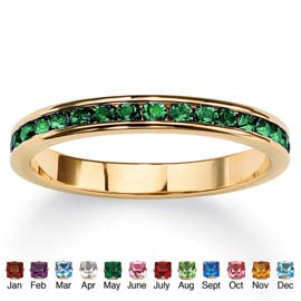Birthstone 14k Gold-plated Eternity Band