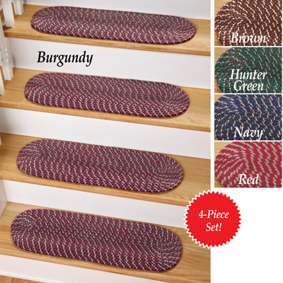 Braided Stair Treads w/ Skid-Resistant Backing - Set of 4