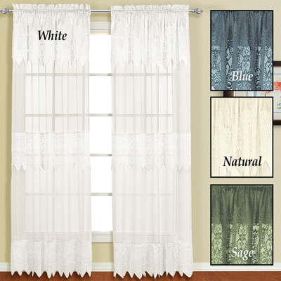 Valerie Lace Curtain Panel with Attached Valance