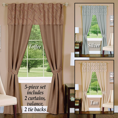 Embroidered Two Tone Trellis Curtain Set - 5pc