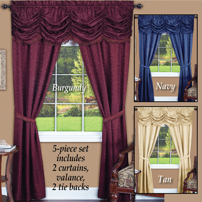 Elegant Panache Jacquard  Curtain Set - 5pc
