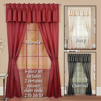 Claire Classic Elegant Curtain Set - 6pc