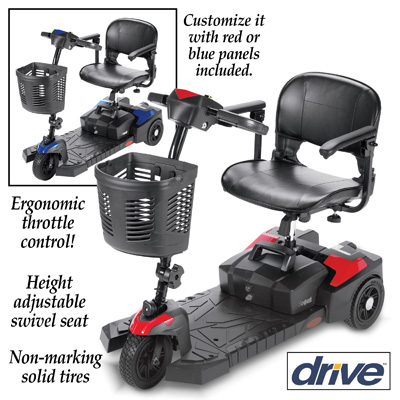 Adjustable Drive 3 Wheel Rechargeable Scooter