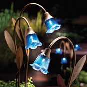 Solar Powered Blue Bell Lawn Stakes - Set of 3